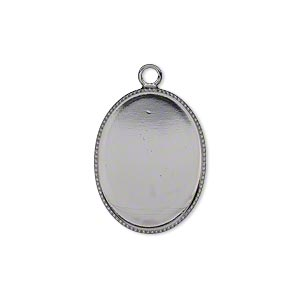 drop, gunmetal-plated brass, 21x16mm oval with beaded edge and 20x15mm oval bezel setting. sold per pkg of 6.