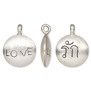 drop, hill tribes, antiqued fine silver, 19mm double-sided round with love. sold individually.