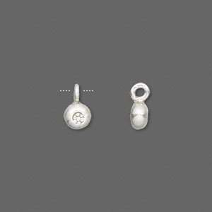 drop, hill tribes, antiqued fine silver, 5mm round with flower design. sold per pkg of 2.
