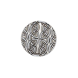 drop, imitation rhodium-finished carbon steel, black and white, 20mm single-sided round with celtic knot design. sold per pkg of 4.