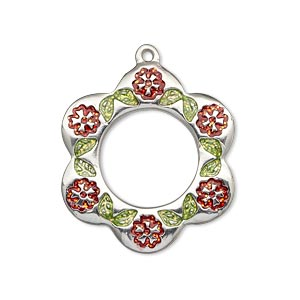 drop, imitation rhodium-finished pewter (zinc-based alloy) and enamel, light green and red, 29x27mm single-sided flower with circle cutout with flowers and leaves. sold individually.
