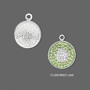 drop, imitation rhodium-plated pewter (zinc-based alloy), 14mm round. sold per pkg of 4.