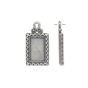 drop, jbb findings, antiqued silver-plated brass, 16x11.5mm single-sided flat rectangle frame with zigzag edge, 12x7.25mm rectangle setting. sold individually.