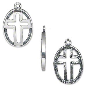 drop, jbb findings, antiqued sterling silver, 20x16mm open oval with inner rope rim and cross. sold individually.