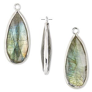 drop, labradorite (natural) and sterling silver, 27x12mm double-sided faceted teardrop. sold per pkg of 2.