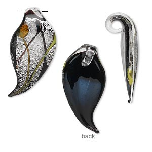 drop, lampworked glass, black and silver-colored foil, 28x13mm single-sided leaf. sold per pkg of 2.