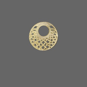 drop, lazer lace™, gold-finished brass, 17mm fancy round go-go. sold per pkg of 40.