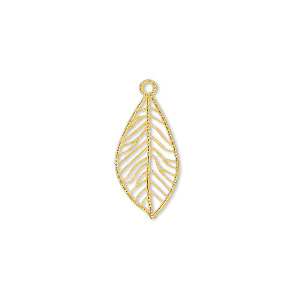 drop, lazer lace™, gold-finished brass, 18x9mm leaf teardrop. sold per pkg of 50.