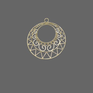 drop, lazer lace™, gold-finished brass, 23x21mm round filigree go-go. sold per pkg of 20.