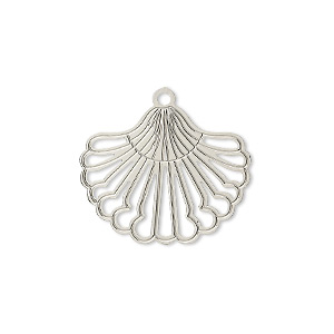 drop, lazer lace™, silver-plated brass, 22x18mm fancy fan. sold per pkg of 30.