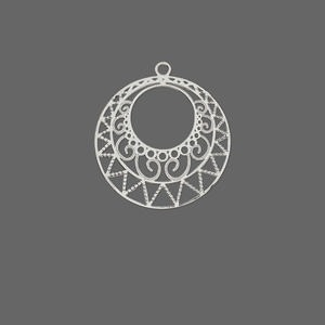 drop, lazer lace™, silver-plated brass, 23x21mm round filigree go-go. sold per pkg of 20.