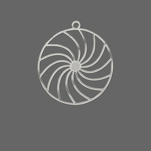 drop, lazer lace™, silver-plated brass, 25mm round with swirls. sold per pkg of 20.
