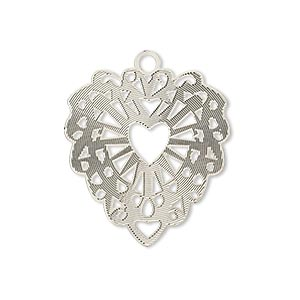 drop, lazer lace™, silver-plated brass, 26x24mm fancy heart. sold per pkg of 2.