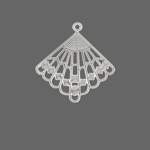 drop, lazer lace™, silver-plated brass, 28x27mm fancy fan. sold per pkg of 20.