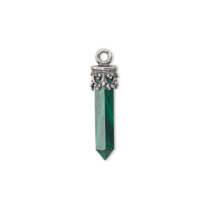 drop, malachite (natural) and sterling silver, 20x3mm-26x4mm hand-cut point. sold individually.