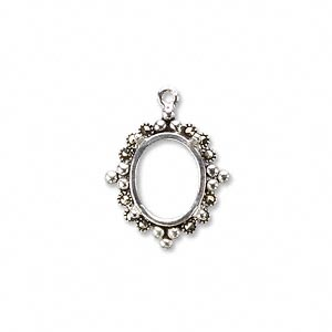 drop, marcasite (natural) and sterling silver, 19x16mm oval with 12x10mm 4-prong oval setting. sold individually.
