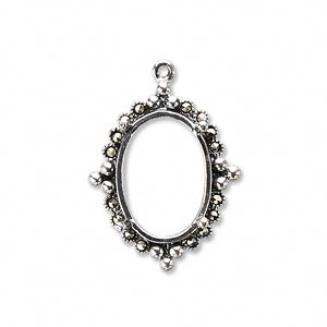 drop, marcasite (natural) and sterling silver, 25x20mm oval with 18x13mm 4-prong oval setting. sold individually.