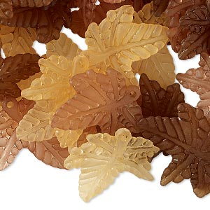 drop mix, acrylic, translucent frosted orange / brown / light brown, 20x20mm leaf. sold per pkg of 120.