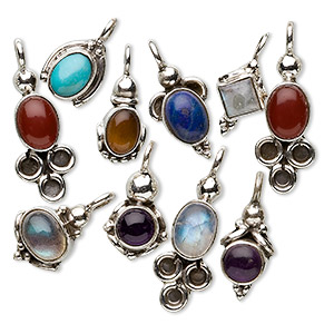 drop mix, antiqued sterling silver and mixed gemstones (natural / dyed / heated), multicolored, mixed sizes and shapes. sold per pkg of 10.