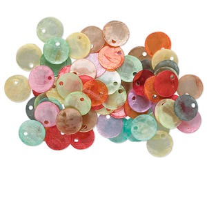 drop mix, capiz shell (coated), mixed colors, 10mm flat round. sold per pkg of 100.