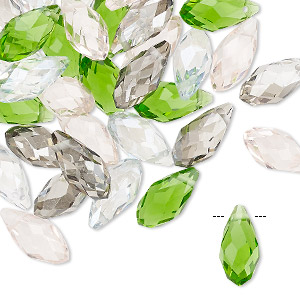 drop mix, celestial crystal, spring, 11.5x5.5mm-12.5x6mm faceted briolette. sold per pkg of 40.