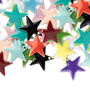 drop mix, epoxy and silver-plated brass, mixed colors, 12x12mm double-sided star. sold per pkg of 120.