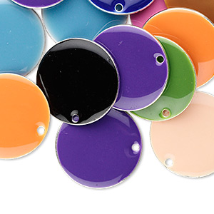 drop mix, epoxy and silver-plated brass, mixed colors, 18mm double-sided round. sold per pkg of 120.