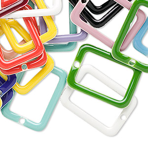 drop mix, epoxy and silver-plated brass, mixed colors, 20x14mm double-sided open rectangle. sold per pkg of 120.