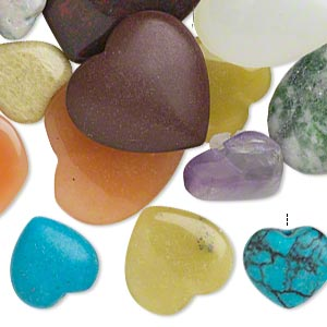 drop mix, multi-gemstone (natural / dyed / imitation), mixed colors, 11x11mm-25x25mm half-drilled puffed heart. sold per pkg of 25.