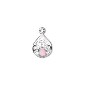 drop, mother-of-pearl shell (dyed) and sterling silver, pink, 12x10mm single-sided filigree teardrop. sold per pkg of 2.