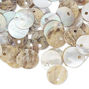 drop, mussel shell (natural / coated), natural 10mm flat round. sold per pkg of 100.