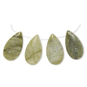 drop, olive new jade (natural), 26x14mm-28x15mm puffed teardrop with flat back, b- grade, mohs hardness 2-1/2 to 6. sold per 4-piece set.