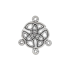 drop, pewter (tin-based alloy), 17mm double-sided celtic round with 3 loops. sold per pkg of 4.
