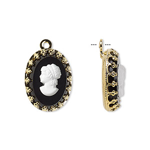 drop, preciosa, czech glass and gold-plated brass, opaque white and black, 16x12mm single-sided left-facing oval cameo with woman. sold individually.