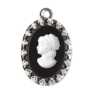 drop, preciosa, czech glass and silver-plated brass, opaque white and black, 16x12mm single-sided left-facing oval cameo with woman. sold individually.