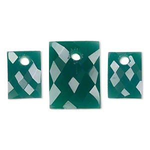 drop set, green onyx (dyed), (1) 20x15mm and (2) 14x10mm hand-cut single-sided faceted domed rectangle, b grade, mohs hardness 6-1/2 to 7. sold per 3-piece set.