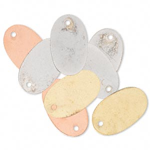 drop, silver- / gold- / copper-finished brass, 19x11mm double-sided oval. sold per pkg of 8.