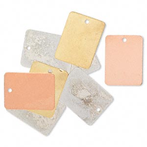 drop, silver- / gold- / copper-finished brass, 20x15mm double-sided rectangle. sold per pkg of 8.