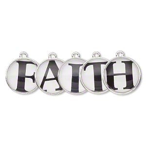 drop, silver-finished pewter (zinc-based alloy) and plastic, black and white, 20mm single-sided domed flat round with faith. sold per 5-piece set.