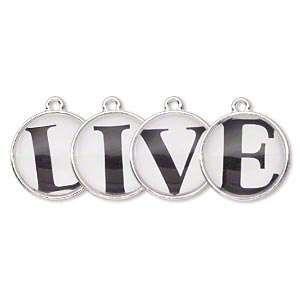 drop, silver-finished pewter (zinc-based alloy) and plastic, black and white, 20mm single-sided domed flat round with live. sold per 4-piece set.