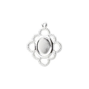 drop, silver-plated brass, 19x17mm with 8x6mm oval setting. sold per pkg of 100.