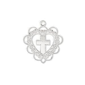 drop, silver-plated brass, 20x19mm heart with cross. sold per pkg of 10.