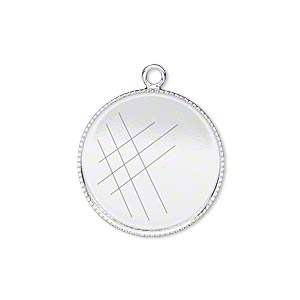 drop, silver-plated brass, 21mm round with beaded edge and 20mm round bezel cup setting. sold per pkg of 2.