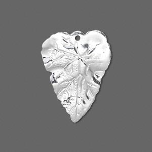 drop, silver-plated brass, 26x20mm double-sided leaf. sold per pkg of 6.
