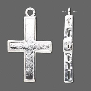 drop, silver-plated brass, 37x22mm single-sided cross. sold per pkg of 8.