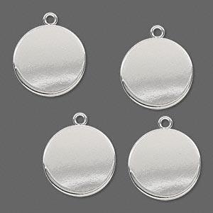 drop, silver-plated steel, 15mm flat round. sold per pkg of 4.