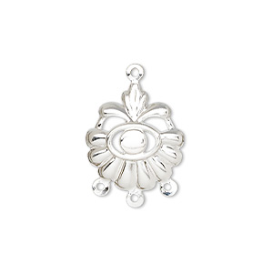 drop, silver-plated steel, 17x16mm fancy shell with 3mm round setting, 3 loops. sold per pkg of 100.