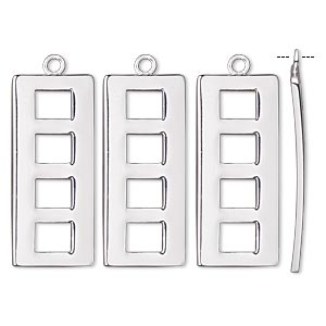 drop, silver-plated steel, 25x11mm fancy rectangle. sold per pkg of 4.