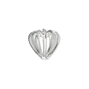 drop, silver-plated steel and brass, 14x14mm heart cage. sold per pkg of 4.
