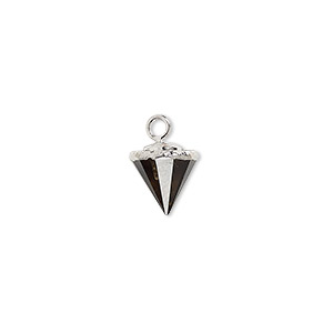 drop, smoky quartz (heated / irradiated) / electroplated silver / silver-plated sterling silver, 9x8mm-11x8mm hand-cut faceted cone. sold individually.